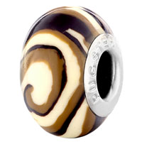  - BROWN AND WHITE SWIRL POLYMER CLAY BEAD alternate image 2.
