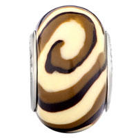  - BROWN AND WHITE SWIRL POLYMER CLAY BEAD alternate image 1.