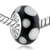 Sterling Silver Jewelry - CLASSIC WHITE &  BLACK DOTS 925  STERLING SILVER MURANO GLASS BEADS CHARMS BRACELETS FIT ALL BRANDS alternate image 1.
