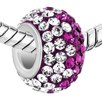 New Year Deals - SILVER PLATED CLEAR PURPLE RHINESTONE CRYSTAL BALL MURANO GLASS BEADS CHARMS BRACELETS FIT ALL BRANDS alternate image 1.