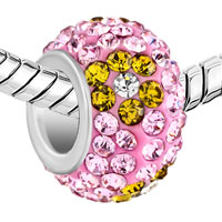 Murano Glass Jewelry - SILVER PLATED YELLOW FLOWER RHINESTONE ROSE PINK CRYSTAL BALL MURANO GLASS BEADS CHARMS BRACELETS FIT ALL BRANDS alternate image 1.