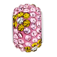 New Arrivals - SILVER PLATED YELLOW FLOWER RHINESTONE ROSE PINK CRYSTAL BALL MURANO GLASS BEADS CHARMS BRACELETS FIT ALL BRANDS alternate image 2.