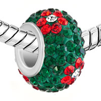 Charms Beads - SILVER PLATED RED FLOWER RHINESTONE EMERALD GREEN BALL MURANO GLASS BEADS CHARMS BRACELETS FIT ALL BRANDS alternate image 1.
