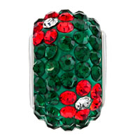 Charms Beads - SILVER PLATED RED FLOWER RHINESTONE EMERALD GREEN BALL MURANO GLASS BEADS CHARMS BRACELETS FIT ALL BRANDS alternate image 2.