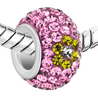 New Year Deals - SILVER PLATED YELLOW FLOWER LIGHT PINK RHINESTONE BALL MURANO GLASS BEADS CHARMS BRACELETS FIT ALL BRANDS alternate image 1.
