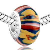 Charms Beads - RED YELLOW BLUE COLOURFUL STRIPES PAINTING POLYMER CLAY FIT ALL BRANDS MURANO GLASS BEADS CHARMS BRACELETS alternate image 1.