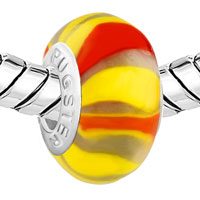 European Beads - YELLOW WITH RED STRIPES MURANO GLASS BEADS CHARMS BRACELETS alternate image 1.