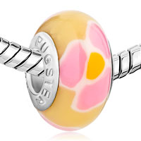 Charms Beads - POLYMER WHITE PINK ORANGE FLOWER FITS MURANO GLASS BEADS CHARMS BRACELETS FIT ALL BRANDS alternate image 1.