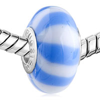 Charms Beads - WHITE LIGHT BLUE STRIPE MURANO GLASS BEADS CHARMS BRACELETS FIT ALL BRANDS alternate image 1.
