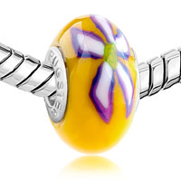 European Beads - YELLOW WITH PURPLE AND WHITE FLOWER POLYMER CLAY ALL BRANDS BEADS CHARMS BRACELETS alternate image 1.