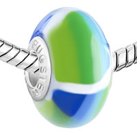 Charms Beads - POLYMER GREEN BLUE PATCH LAMPWORK SILVER MURANO GLASS BEADS CHARMS BRACELETS FIT ALL BRANDS alternate image 1.