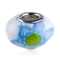 Charms Beads - POLYMER PALE BLUE GREEN FLOWER MURANO GLASS BEADS CHARMS BRACELETS FIT ALL BRANDS alternate image 1.