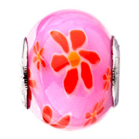 Charms Beads - PINK ORANGE RED FLOWER LAMPWORK SILVER MURANO GLASS BEADS CHARMS BRACELETS FIT ALL BRANDS alternate image 2.