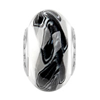 Charms Beads - BLACK LEAF BAND WHITE FIT MURANO GLASS BEADS CHARMS BRACELETS ALL BRANDS alternate image 1.