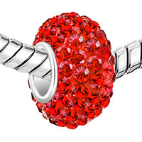Sterling Silver Jewelry - BIRTHSTONE CHARMS 925 STERLING SILVER GORGEOUS RED CRYSTAL BEAD FIT BEAD alternate image 1.