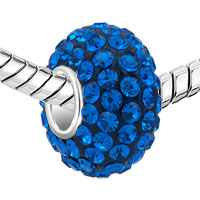 Sterling Silver Jewelry - BIRTHSTONE CHARMS JEWELRY 925 STERLING SILVER SAPPHIRE BLUE CRYSTAL BEAD alternate image 1.