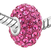 Sterling Silver Jewelry - BIRTHSTONE CHARMS 925 STERLING SILVER PINK CRYSTAL BEAD PANDORA COMPATIBLE alternate image 1.