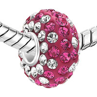 Sterling Silver Jewelry - WHITE AND PINK BIRTHSTONE CRYSTAL STERLING SILVER SOLID CORE ALL BRANDS BEADS CHARMS BRACELETS alternate image 1.