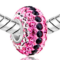 Sterling Silver Jewelry - BIRTHSTONE CHARMS 925 STERLING SILVER PINK & BLACK CRYSTAL BEAD SILVER CORE alternate image 1.
