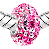 Sterling Silver Jewelry - BIRTHSTONE CHARMS JEWELRY. 925 STERLING SILVER PINK CRYSTAL BEAD FIT CHARM alternate image 1.