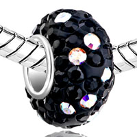 Sterling Silver Jewelry - BIRTHSTONE CHARMS 925 STERLING SILVER CRYSTAL CLASSIC BLACK SILVER CORE BEAD alternate image 1.