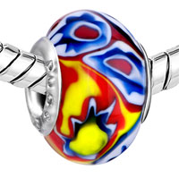  - BLUE AND GREEN FLOWER WITH RED AND YELLOW PISTIL MURANO GLASS ALL BRANDS alternate image 1.
