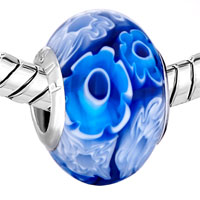 Charms Beads - BLUE &  WHITE SUN FLOWERS FITS MURANO GLASS BEADS CHARMS BRACELETS FIT ALL BRANDS alternate image 1.