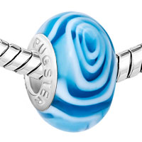 Charms Beads - PLAE BLUE FANTASY FLOWER SEA WAVE FITS MURANO GLASS BEADS CHARMS BRACELETS FIT ALL BRANDS alternate image 1.