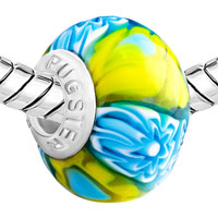 Charms Beads - BLUE YELLOW FLOWERS RIPPLE MURANO GLASS FITS BEADS CHARMS BRACELETS FIT ALL BRANDS alternate image 1.