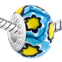 Charms Beads - FANTASY YELLOW FLOWERS FITS MURANO GLASS BEADS CHARMS BRACELETS FIT ALL BRANDS alternate image 1.