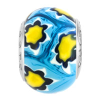 Charms Beads - FANTASY YELLOW FLOWERS FITS MURANO GLASS BEADS CHARMS BRACELETS FIT ALL BRANDS alternate image 2.