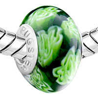 Charms Beads - DEEP GREEN FLOWERS MURANO GLASS FITS BEADS CHARMS BRACELETS FIT ALL BRANDS alternate image 1.