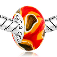 Sterling Silver Jewelry - RED ORANGE FLOWER 925  STERLING SILVER SOLID CORES FITS MURANO GLASS BEADS CHARMS BRACELETS FIT ALL BRANDS alternate image 1.