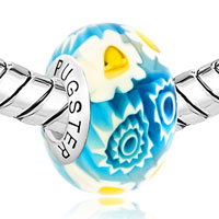 Sterling Silver Jewelry - HANDCRAFTED WHITE BLUE MULTI COLOR MILLEFIORI FLOWERS 925  STERLING SILVER FIT ALL BRANDS MURANO GLASS BEADS CHARMS BRACELETS alternate image 1.