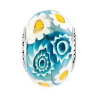 Sterling Silver Jewelry - HANDCRAFTED WHITE BLUE MULTI COLOR MILLEFIORI FLOWERS 925  STERLING SILVER FIT ALL BRANDS MURANO GLASS BEADS CHARMS BRACELETS alternate image 2.
