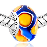 Sterling Silver Jewelry - SAPPHIRE BLUE ORANGE FLOWER BUD 925  SILVER MURANO GLASS BEADS CHARMS BRACELETS FIT ALL BRANDS alternate image 1.