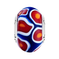 Sterling Silver Jewelry - ORANGE RED WHITE MILLEFIORI FLOWER PETAL BLUE 925  STERLING SILVER SOLID CORES FIT ALL BRANDS MURANO GLASS BEADS CHARMS BRACELETS alternate image 2.