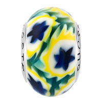 Sterling Silver Jewelry - FANTASY BLUE YELLOW FLOWERLIM 925  STERLING SILVER SOLID CORE MILLEFIORI FITS MURANO GLASS BEADS CHARMS BRACELETS FIT ALL BRANDS alternate image 2.