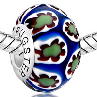 Sterling Silver Jewelry - GREEN WHITE MILLEFIORI SUNFLOWER BLUE 925  STERLING SILVER SOLID CORES FIT ALL BRANDS MURANO GLASS BEADS CHARMS BRACELETS alternate image 1.
