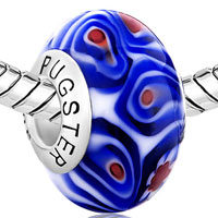Sterling Silver Jewelry - BLUE WHITE ROSE FLOWER RED PISTIL 925  SILVER MURANO GLASS BEADS CHARMS BRACELETS FIT ALL BRANDS alternate image 1.