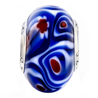 Sterling Silver Jewelry - BLUE WHITE ROSE FLOWER RED PISTIL 925  SILVER MURANO GLASS BEADS CHARMS BRACELETS FIT ALL BRANDS alternate image 2.