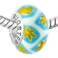 Sterling Silver Jewelry - WHITE CUTE YELLOW FLOWERLIM 925  STERLING SILVER SOLID CORE MILLEFIORI FITS MURANO GLASS BEADS CHARMS BRACELETS FIT ALL BRANDS alternate image 1.