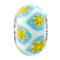 Sterling Silver Jewelry - WHITE CUTE YELLOW FLOWERLIM 925  STERLING SILVER SOLID CORE MILLEFIORI FITS MURANO GLASS BEADS CHARMS BRACELETS FIT ALL BRANDS alternate image 2.