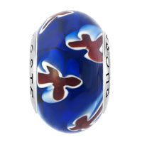 Sterling Silver Jewelry - WHITE RED MILLEFIORI CROSS FLOWER DARK BLUE 925  STERLING SILVER SOLID CORES FIT ALL BRANDS MURANO GLASS BEADS CHARMS BRACELETS alternate image 2.