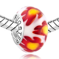 Sterling Silver Jewelry - WHITE RED MILLEFIORI FLOWER YELLOW PISTIL 925  STERLING SILVER SOLID CORES FIT ALL BRANDS MURANO GLASS BEADS CHARMS BRACELETS alternate image 1.