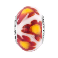 Sterling Silver Jewelry - WHITE RED MILLEFIORI FLOWER YELLOW PISTIL 925  STERLING SILVER SOLID CORES FIT ALL BRANDS MURANO GLASS BEADS CHARMS BRACELETS alternate image 2.