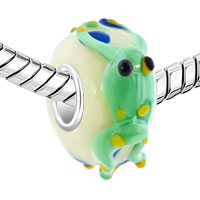 Sterling Silver Jewelry - GREEN FROG YELLOW EYES SLIM STERLING SILVER LAMPWORK MURANO GLASS BEADS CHARMS BRACELETS FIT ALL BRANDS alternate image 1.