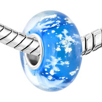 New Year Deals - SAPPHIRE BLUE FOIL SNOWFLAKE CHRISTMAS GIFT FIT ALL BRANDS BRACELETS MURANO GLASS BEADS CHARMS alternate image 1.