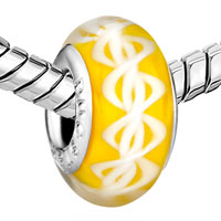 Charms Beads - CITRINE YELLOW DNA STRUCTURE HELIX ROBBIN STRIPES FIT ALL BRANDS MURANO GLASS BEADS CHARMS BRACELETS alternate image 1.
