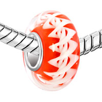 Charms Beads - REDDISH ORANGE DNA STRUCTURE HELIX ROBBIN STRIPES FIT ALL BRANDS MURANO GLASS BEADS CHARMS BRACELETS alternate image 1.